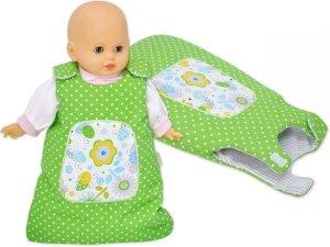 Śpiworek dla lalki zielony w groszki z kwiatkami