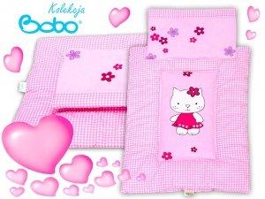 Pościel dla lalki z aplikacją różowa kratka z kotkiem