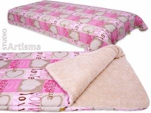 Narzuta na łóżko KOC dwustronny PLED LOVE różowy z beżem