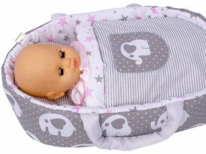 Nosidełko BOBO z aplikacją dla lalki do 45 cm szare w słonie