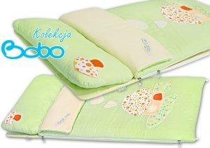 Śpiworek do łóżeczka zielony z aplikacją domku