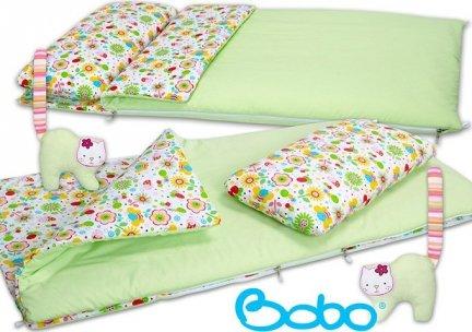 Śpiworek przedszkolaka zielony z różową łączką