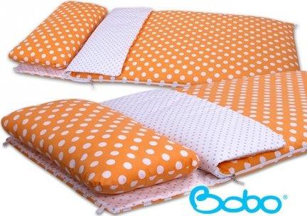 Śpiwór 155x70 cm zima/lato pomarańczowy w grochy