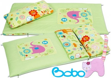Śpiworek przedszkolaka zielony z aplikacją słonia