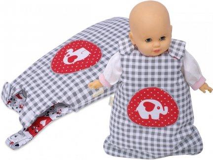 Śpiworek dla lalki szara krata z czerwonym słoniem