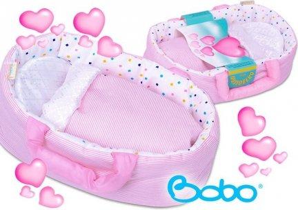 Nosidełko MINI dla lalki do 25 cm rózowe paseczki