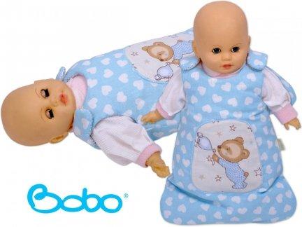Śpiworek dla lalki błękitny w serduszka z misiem