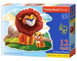 Puzzle Maxi Konturowe :Lion Cub and his Dad 12