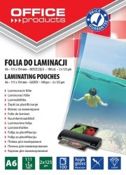Folia do laminowania OFFICE PRODUCTS A6, 2x125mikr., błyszcząca, 100szt., transparentna