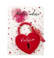 Kłódka miłości czerwona z hasłem Kocham