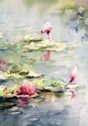 Karnet akwarela 12x18 cm + koperta Lilia wodna