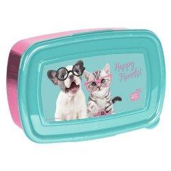 Śniadaniówka Studio Pets błękitno-różowa Happy Friends