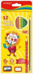 Zestaw kredek ołówkowych z ołówkami gumką i temperówką zawieszką mix kolorów