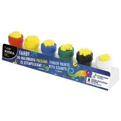 Farby do malowania palcami ze stempelkami 6 sztuk