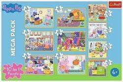 Puzzle 10w1 Świnka Peppa z przyjaciółmi