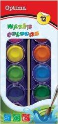 Farby Akwarelowe 12 Kolorów+ Pędzelek Optima