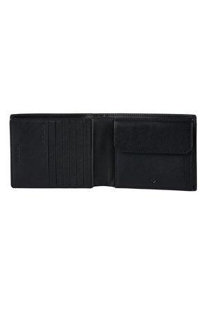 Portfel posiada 11 miejsc na karty, dwie komory na banknoty, dwie większe kieszonki, miejsce na bilon zamykane na zatrzask