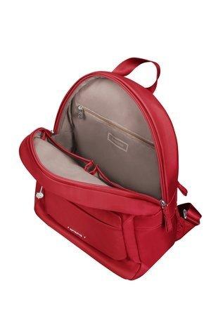 Plecak wewnątrz posiada dużą komore, kieszeń na tylnej ścianie zamykaną na suwak oraz miejsce na telefon