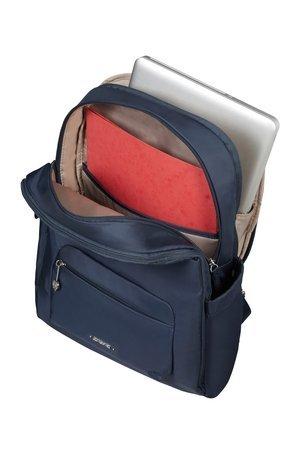 Plecak posiada trzy komory zamykane na suwaki. Tylna komora przeznaczona jest na laptopa