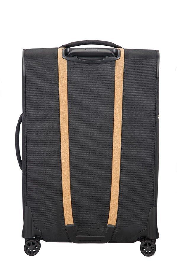 Tył walizki ze wstawkami z naturalnego korka, który nadaje charakterystycznego wyglądu