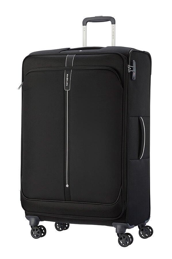 Bagaż duży 78 cm wykonany z poliestru i nylonu na czterech obrotowych kołach oraz zamek szyfrowy TSA