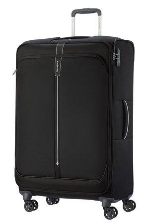 Bagaż 78 cm wykonany z poliestru i  grubo tkanego nylonu. Bagaż posiada cztery obrotowe koła, które umożliwiają poruszanie się walizki w każdym kierunku oraz zamek szyfrowy TSA