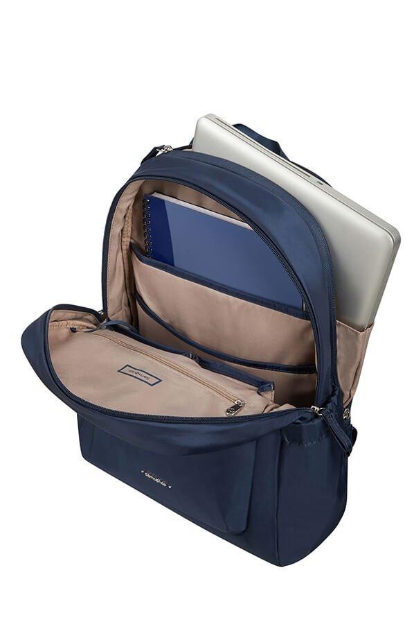 Plecak posiada dwie komory. Przednia komora na dokumenty, tylna na laptopa