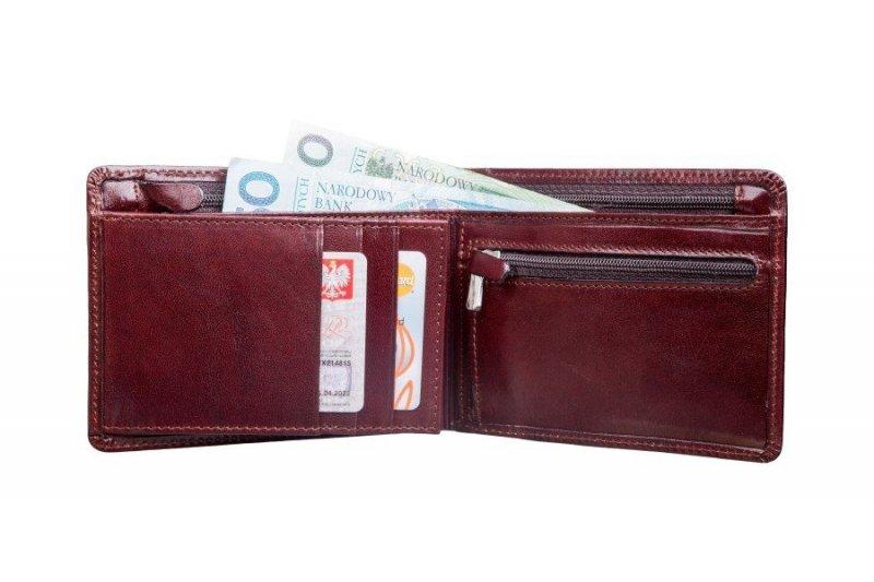 Portfel posiada kieszeń na banknoty i kieszeń na banknoty dodatkowo zamykaną na suwak