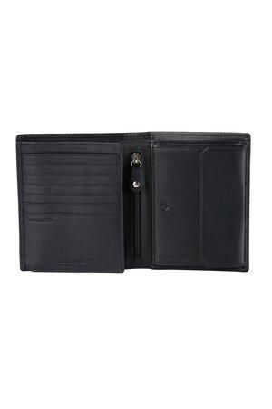 Portfel posiada 11 miejsc na karty, miejsce na bilon zamykane na zatrzask, pięć większych kieszeni na dokumenty oraz dwie przegrody na banknoty