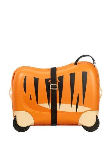 Bagaż posiada siedzisko, na którym dziecko może usiąść i przemieszczać sie jeżdżąc. Bagaż posiada pasek którym można spiąąć dodatkowo walizkę, może służyć do noszenia na ramieniu lub do prowadzenia bagażu