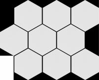 Cambia White Lappato Mozaika Heksagon 27,53x33,4