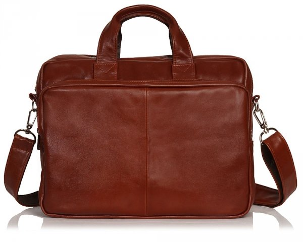 Skórzana torba na laptopa Solome premier karmel przód