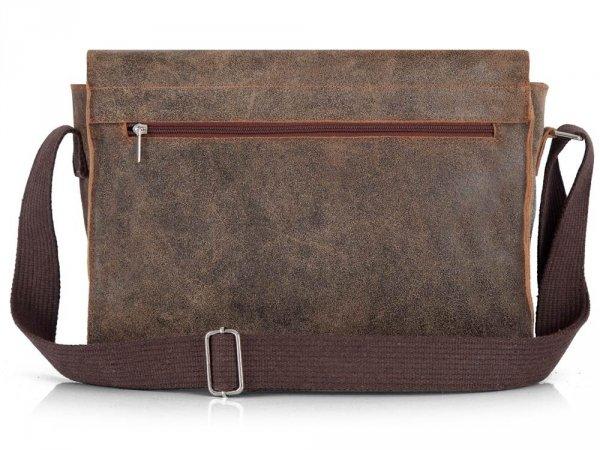 Skórzana torba męska na ramię Solome Blackrock brązowa vintage tył