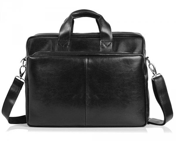 Skórzana torba na laptop Solome premier czarna przód