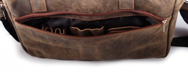 Skórzana torba męska na laptop Solome Alston vintage brązowa detal