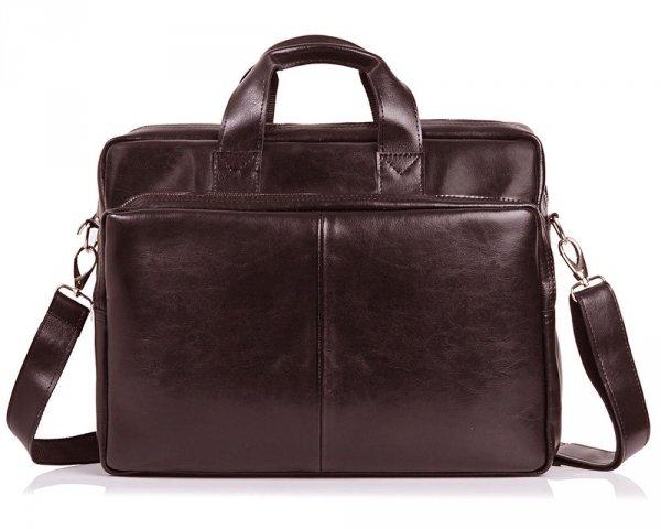 Skórzana torba na laptop Solome premier brązowa przód