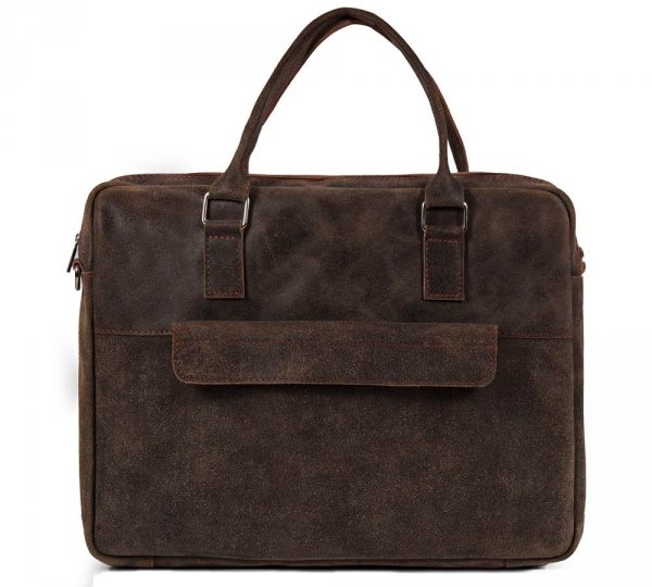 Skórzana torba męska na laptop Solome Alston vintage brązowa przód