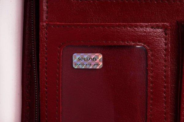 Skórzany biwuar teczka czerwona Solome Lw01 detal 2