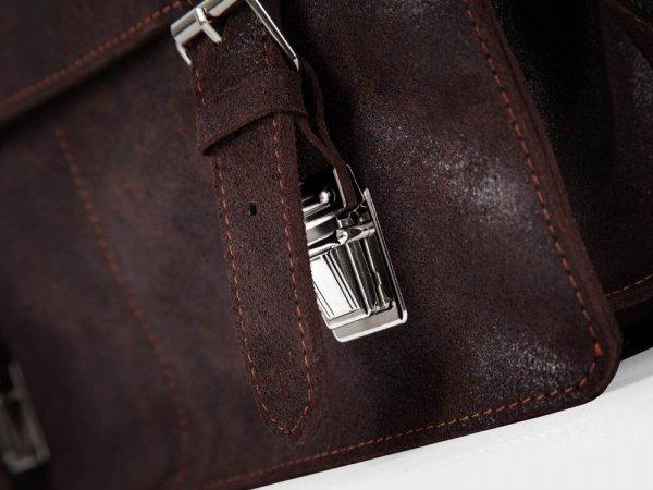 Skórzana męska torba na ramię Solome Lago 03 brązowa detal