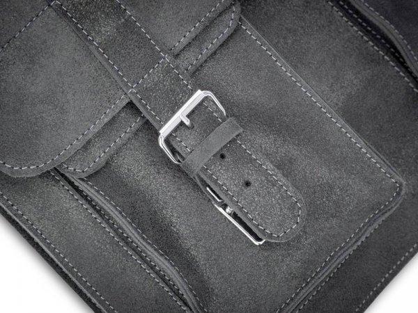 Skórzana męska torba na ramię Solome Lago 02 szara detal