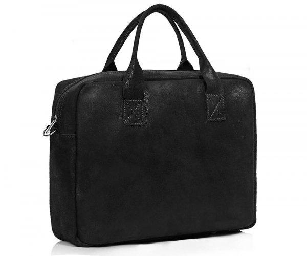 Skórzana torba na laptopa Solome horse ciemno szara skos