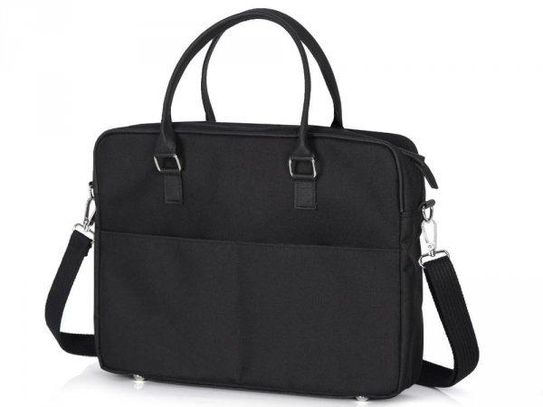 Skórzana torba na laptop Solome Ring 01 czarna Codura skos