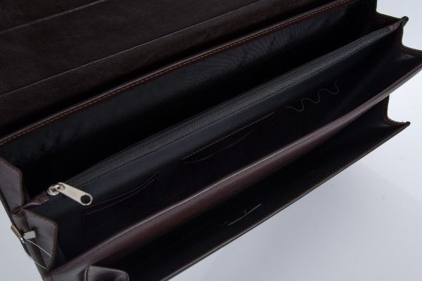 Skórzana teczka męska Solome royal leather brązowa II detal