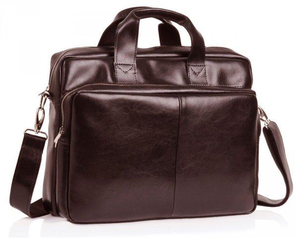 Skórzana torba na laptop Solome premier brązowa skos