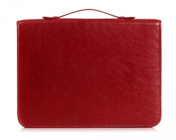 Skórzany biwuar teczka czerwona Solome Lw01 przód