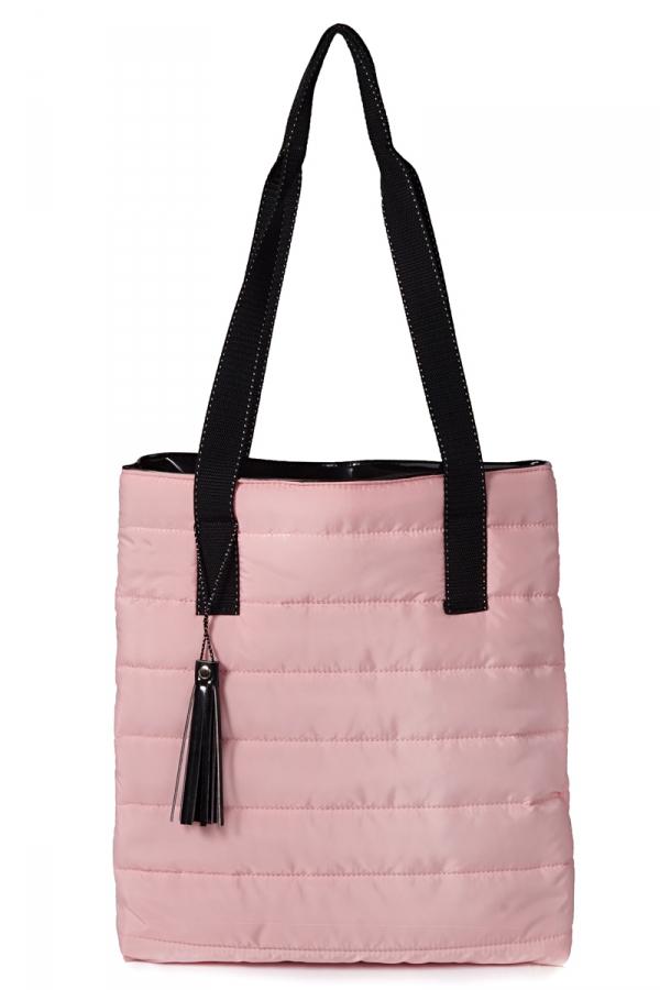 Różowa torba damska pikowana shoperka przód