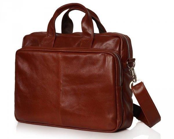 Skórzana torba na laptopa Solome premier karmel  skos