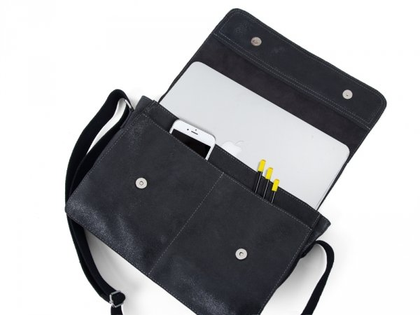Skórzana torba męska na ramię Solome Blackrock szara vintage detal