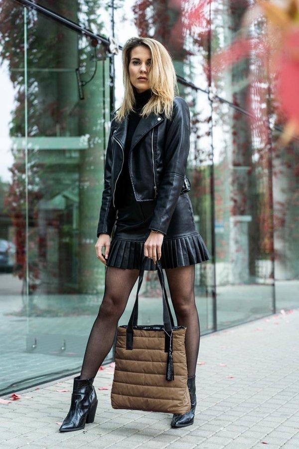 Beżowa taupe torba damska pikowana shoperka look