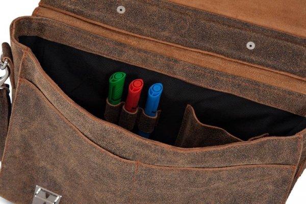 Skórzana męska torba na ramię Solome Lago 03 brązowa vintage detal